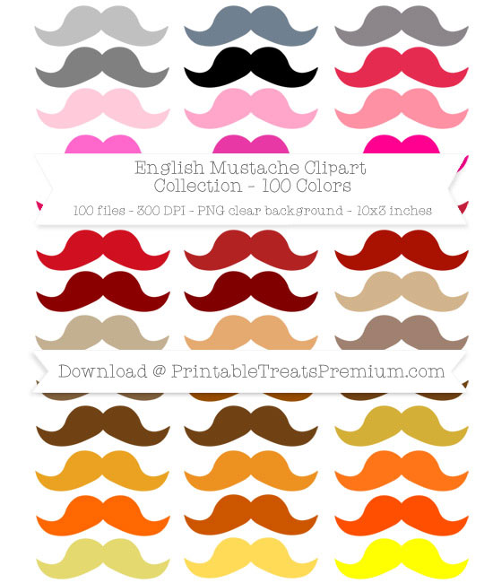100 Colors English Mustache Clipart Collection