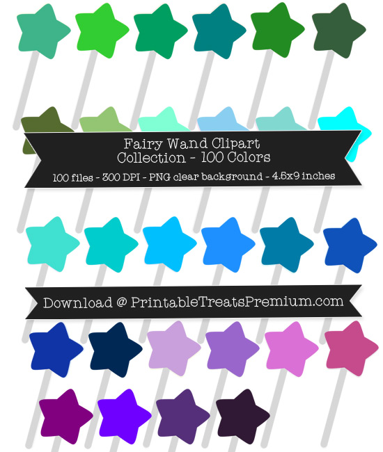 100 Colors Fairy Wand Clipart Collection