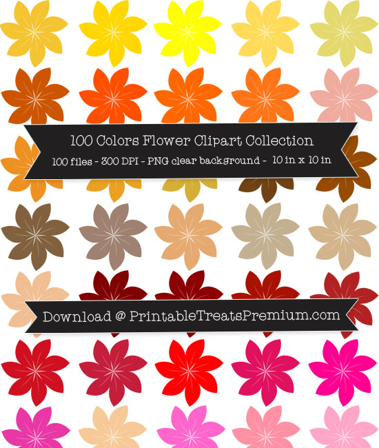 100 Colors Flower Clipart Collection
