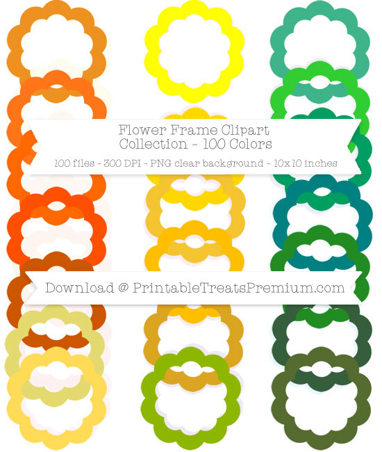 100 Colors Flower Frame Clipart Collection