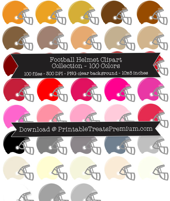 100 Colors Football Helmet Clipart Collection