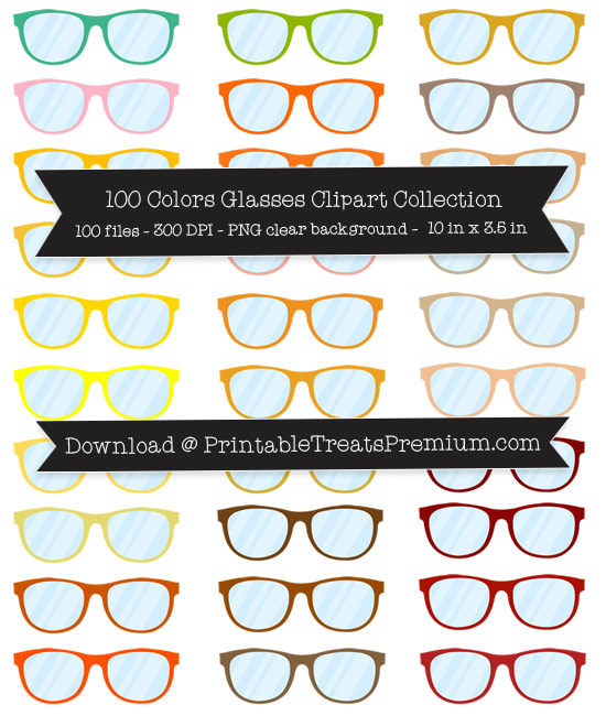 100 Colors Glasses Clipart Collection
