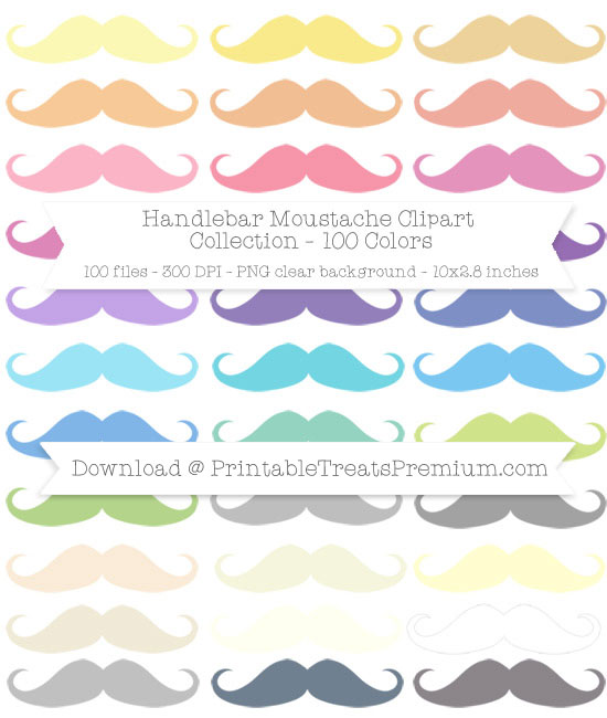 100 Colors Handlebar Moustache Clipart Collection