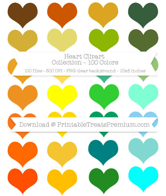 100 Colors Heart Clipart Collection