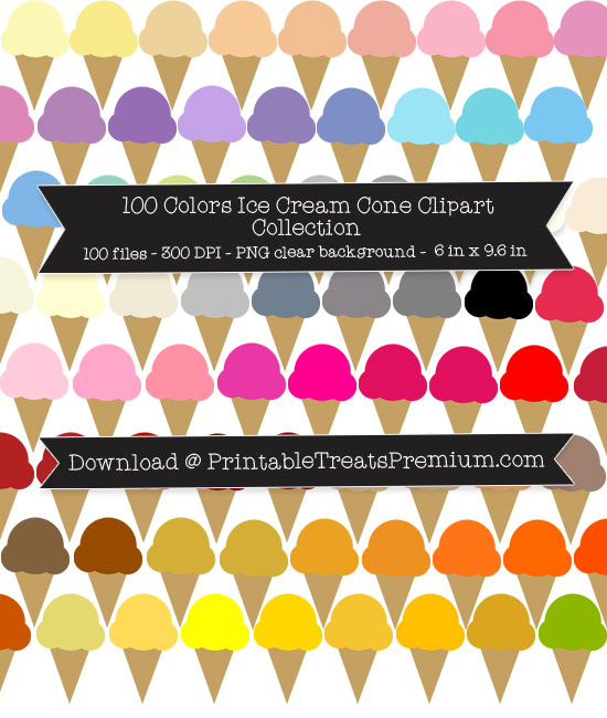 100 Colors Ice Cream Cone Clipart Collection