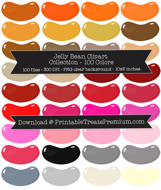 100 Colors Jelly Bean Clipart Collection