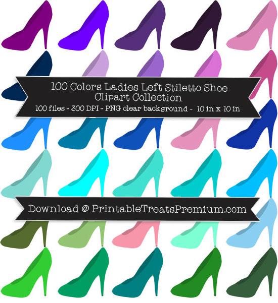 100 Colors Ladies Left Stiletto Shoe Clipart Collection