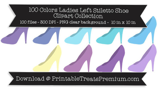 100 Colors Ladies Left Stiletto Shoe Clipart Collection