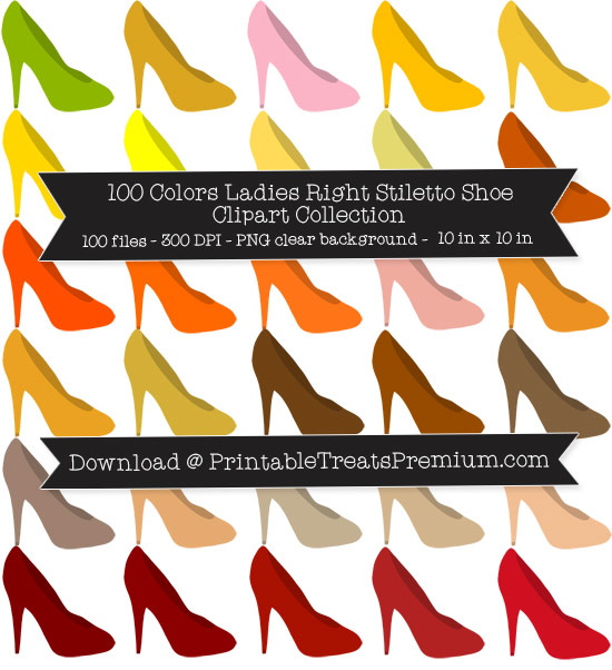 100 Colors Ladies Right Stiletto Shoe Clipart Collection