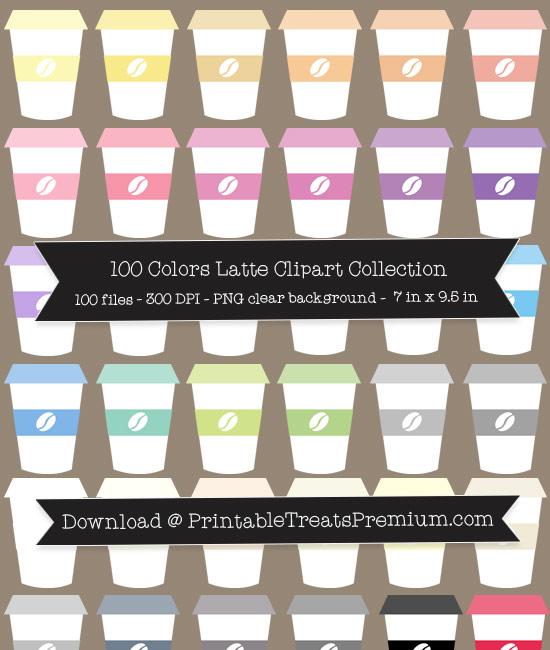 100 Colors Latte Clipart Collection