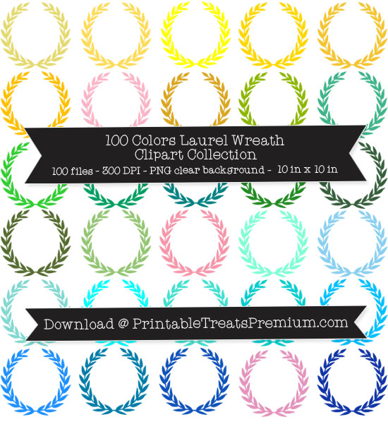 100 Colors Laurel Wreath Clipart Collection