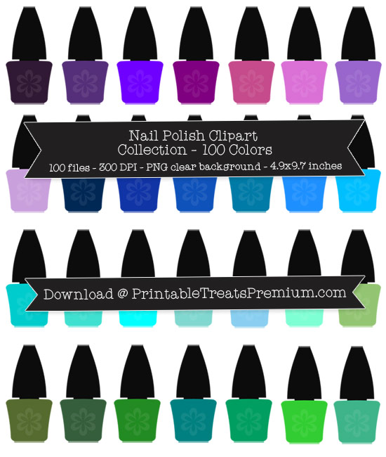 100 Colors Nail Polish Bottle Clipart Collection