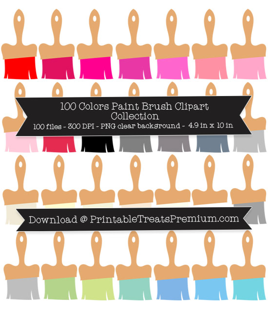 100 Colors Paint Brush Clipart Collection