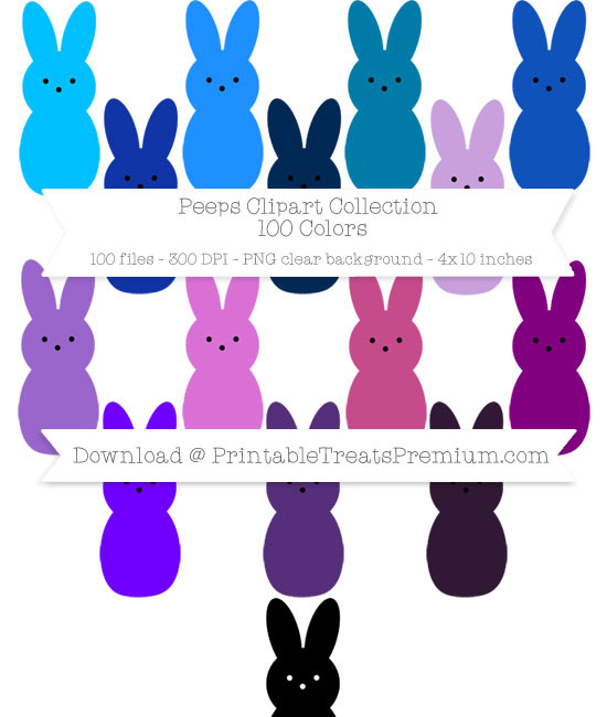 100 Colors Peeps Clipart Collection