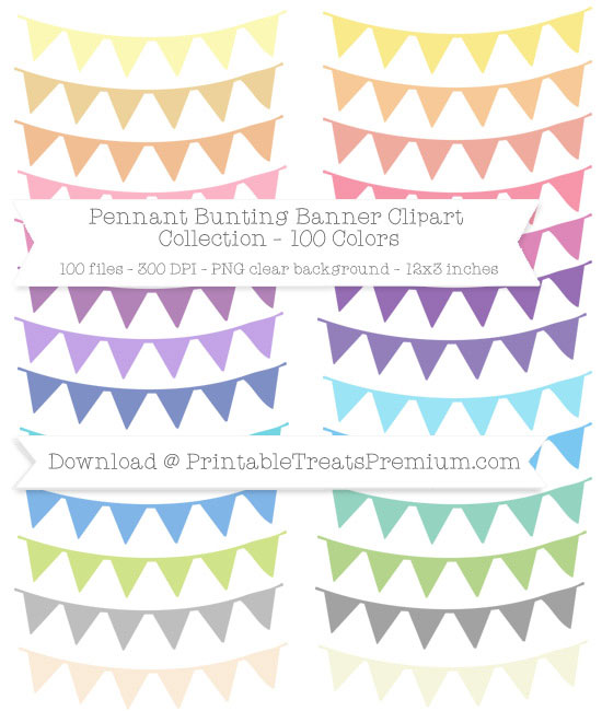 100 Colors Pennant Bunting Banner Clipart Collection