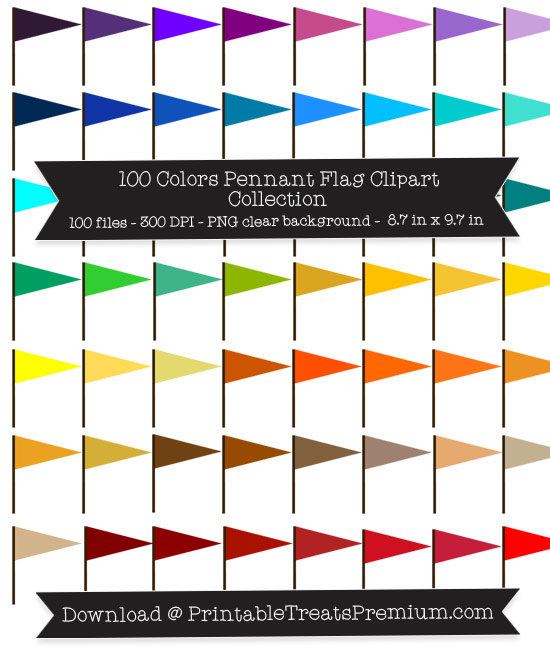 100 Colors Pennant Flag Clipart Collection