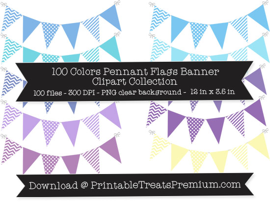 100 Colors Pennant Flags Banner Clipart Collection