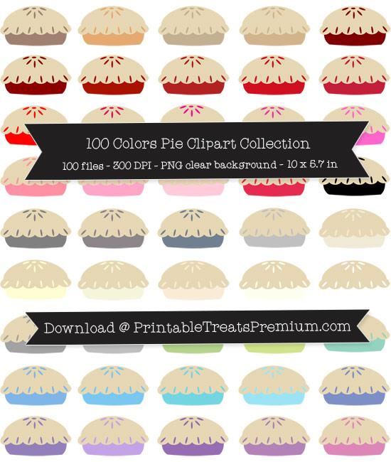 100 Colors Pie Clipart Collection