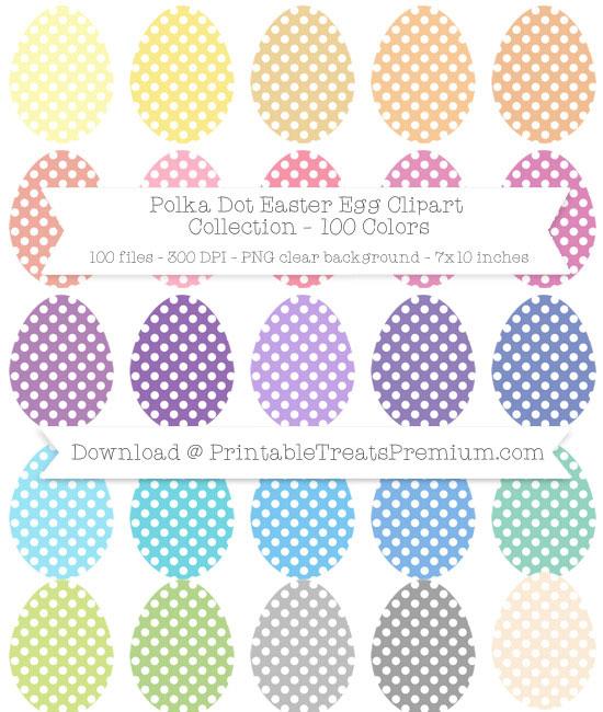 Polka Dot Easter Egg Clip Art Pack