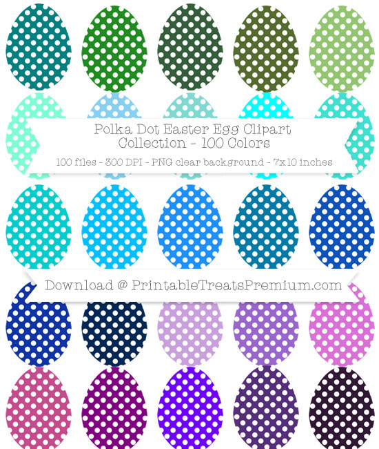 100 Colors Polka Dot Easter Egg Clipart Collection