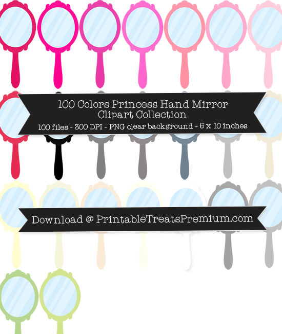 100 Colors Princess Hand Mirror Clipart Collection