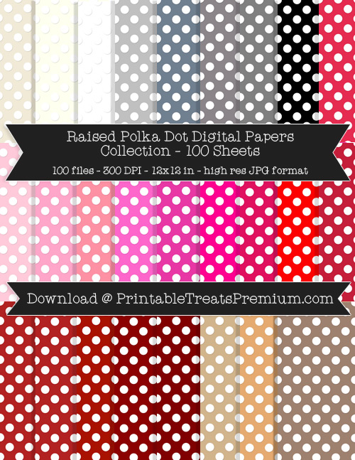 100 Colors Raised Polka Dot Digital Papers Collection