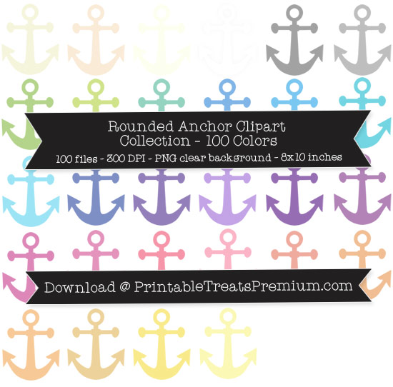 100 Colors Rounded Anchor Clipart Collection