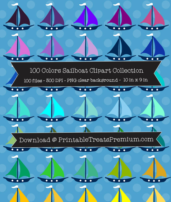 100 Colors Sailboat Clipart Collection