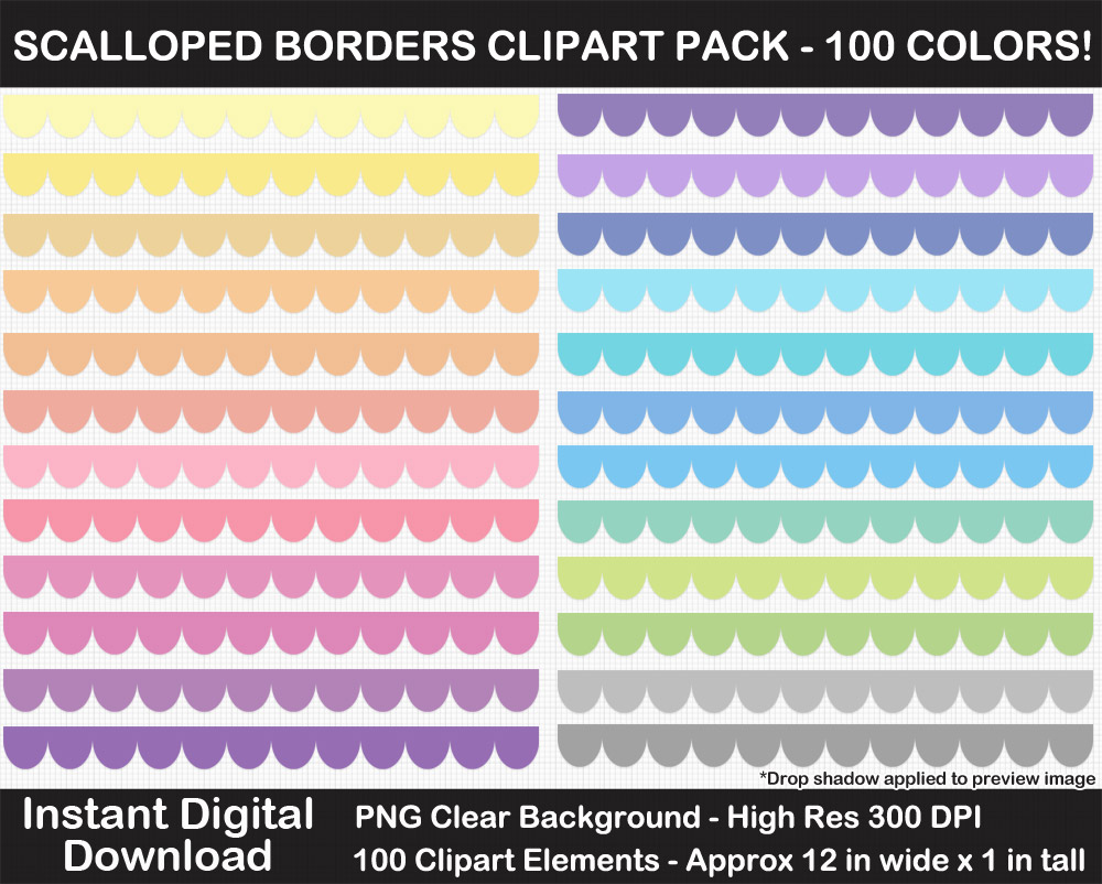 100 Colors Scalloped Border Clipart Collection