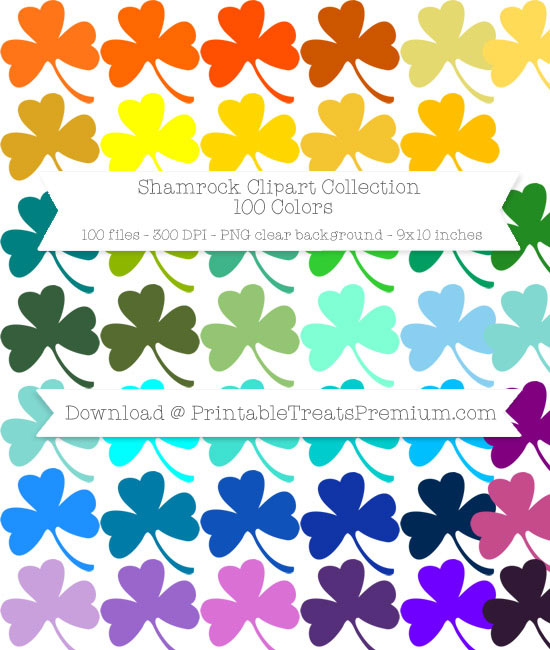 100 Colors Shamrock Clipart Collection
