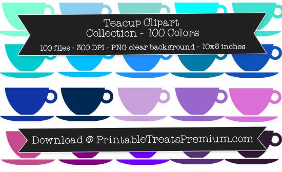 100 Colors Teacup Clipart Collection