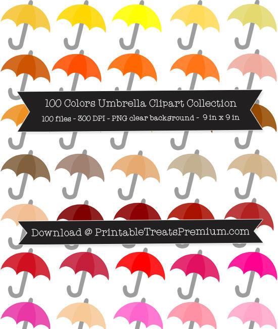100 Colors Umbrella Clipart Collection