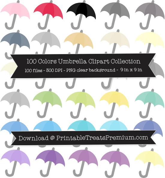 100 Colors Umbrella Clipart Collection
