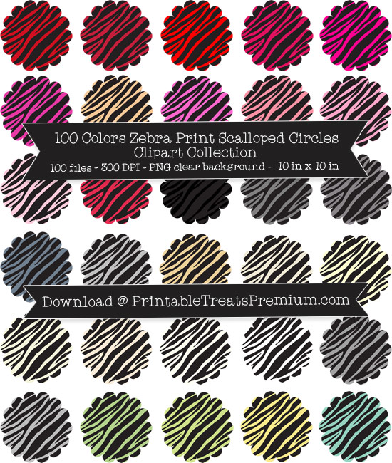 100 Colors Zebra Print Scalloped Circles Clipart Collection