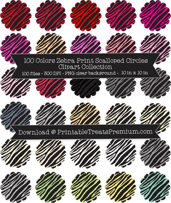 Zebra Print Scalloped Circles Clipart Pack