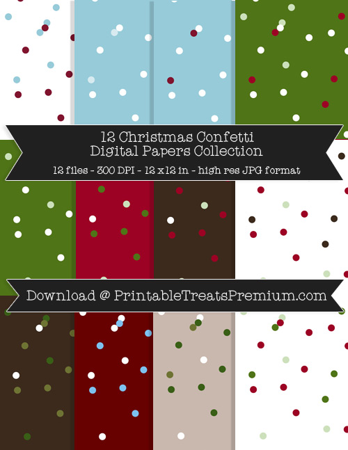 Christmas Confetti Digital Paper Pack for Scrapbooking, Invitations, Wrapping Paper, Parties