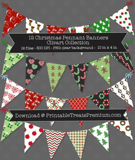 12 Christmas Pennant Banner Clipart Collection