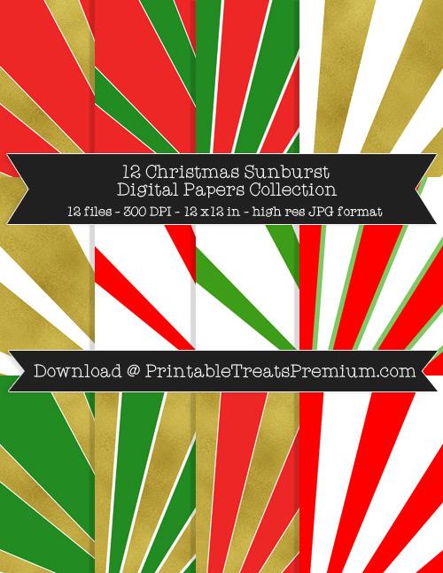 12 Christmas Sunburst Digital Papers Collection
