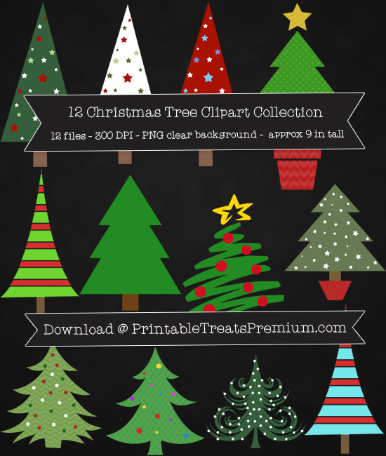 12 Christmas Tree Clipart Collection