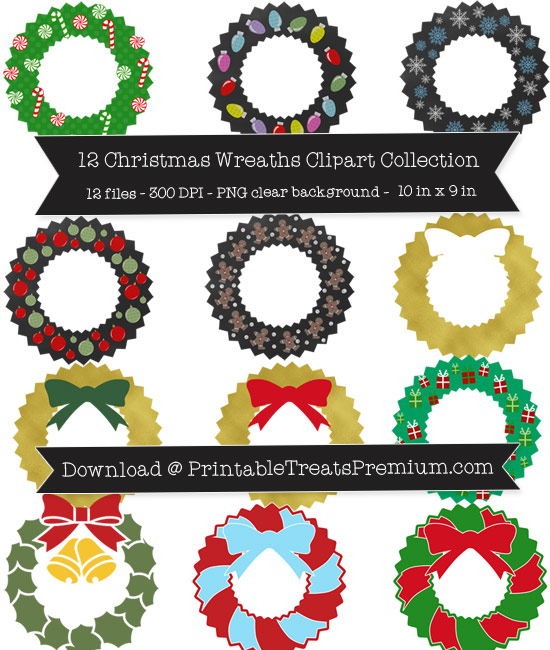 Christmas Wreaths Clip Art Pack