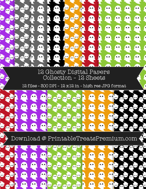 Ghosty Digital Paper Pack for Scrapbooking, Invitations, Wrapping Paper, Parties, Halloween