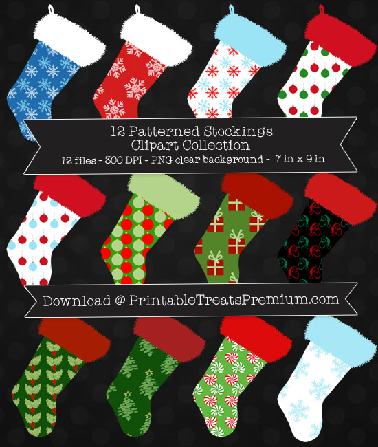 Patterned Christmas Stockings Clipart Pack