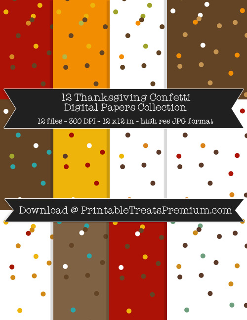 Thanksgiving Confetti Digital Paper Pack for Scrapbooking, Invitations, Wrapping Paper, Parties, Fall, Autumn