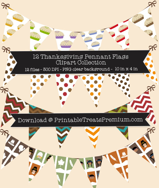 12 Thanksgiving Pennant Flags Clipart Collection