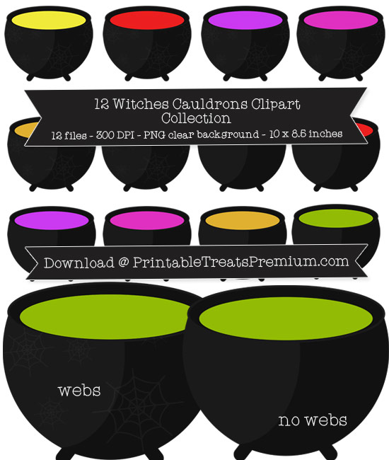 12 Witches Cauldron Clipart Collection