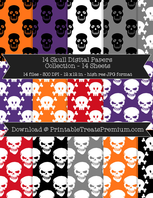 Skull Digital Paper Pack for Scrapbooking, Invitations, Wrapping Paper, Parties, Halloween