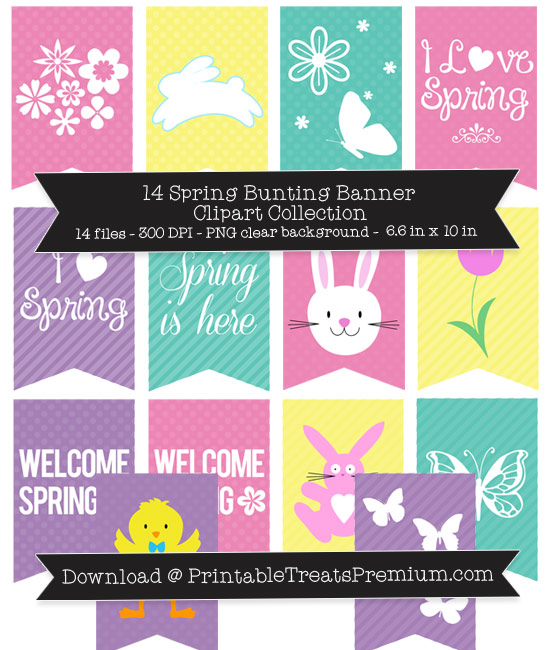 14 Spring Bunting Banner Clipart Collection