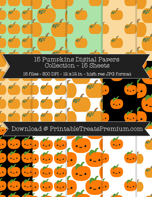 15 Pumpkins Digital Papers Collection