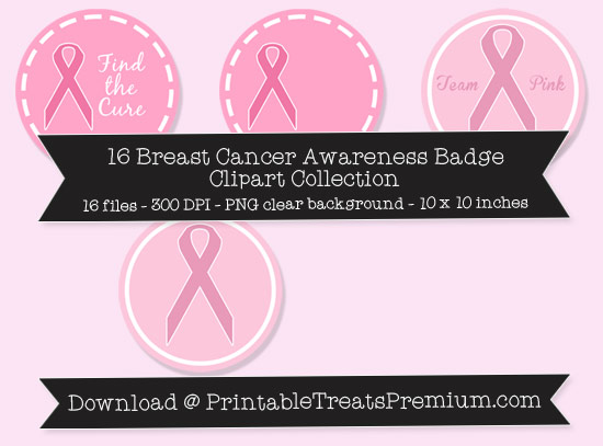 16 Breast Cancer Awareness Badge Clipart Collection
