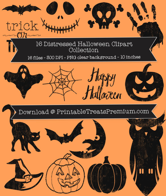 Distressed Halloween Clip Art Pack